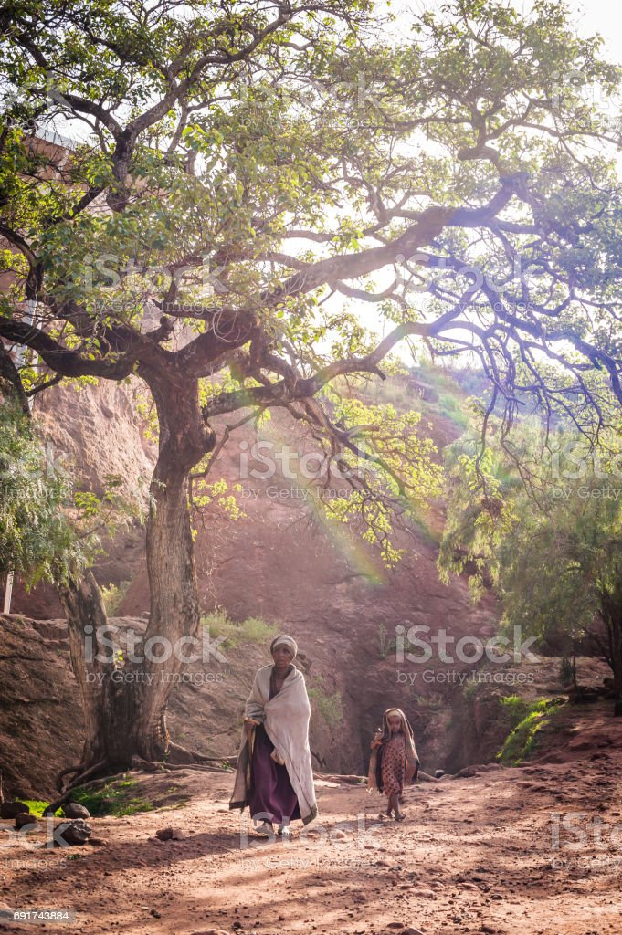 African Girl and Mother stock photo