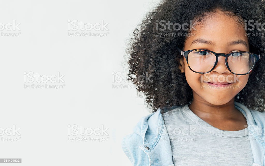 African Girl Smling Fun Happiness Retro Concept stock photo