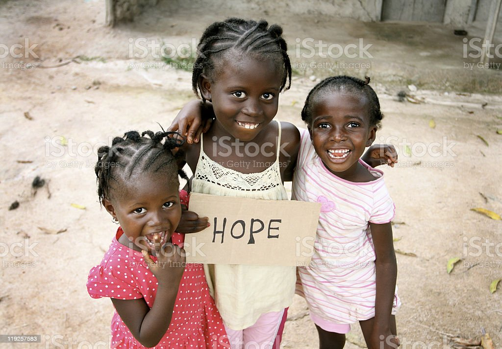 African Girls with Hope Sign stock photo