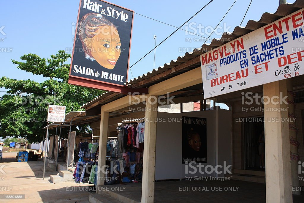 African Hairdresser Salon in West Africa royalty-free stock photo