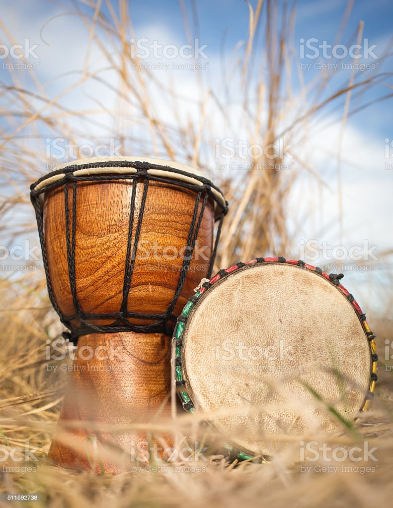 African hand percussion instrument - Djembe drums stock photo