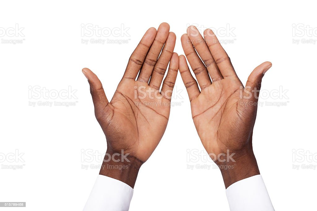African hand up stock photo