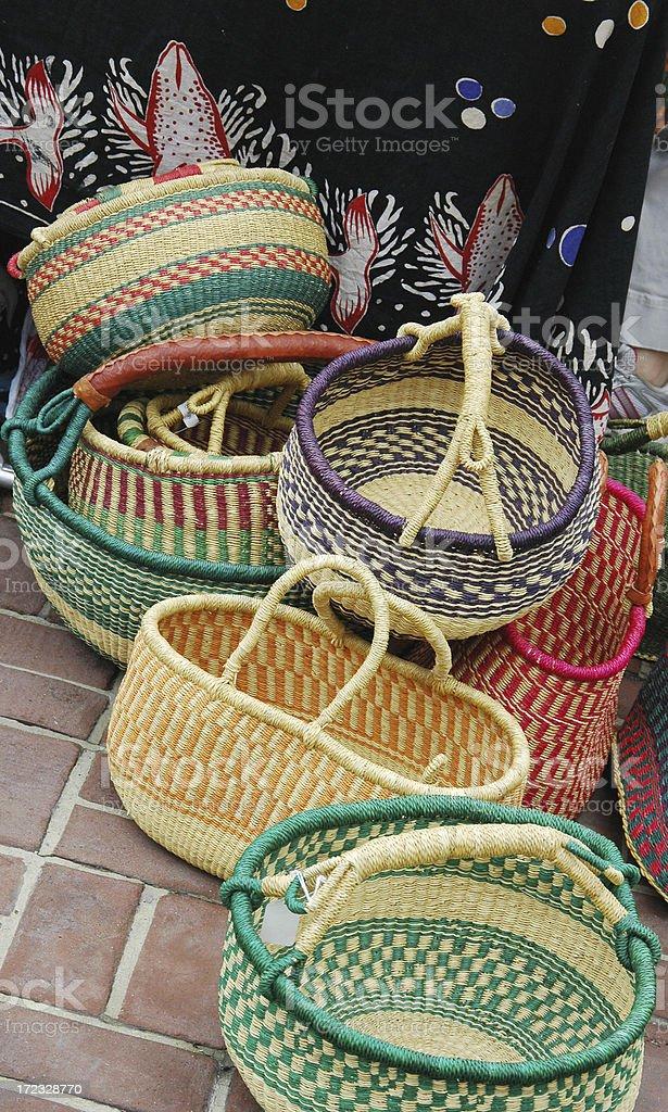 African Handmade Grass Baskets stock photo