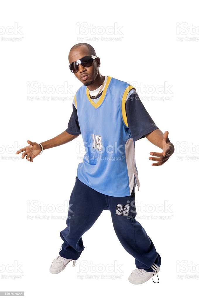 African hip-hop dancer making fancy move royalty-free stock photo