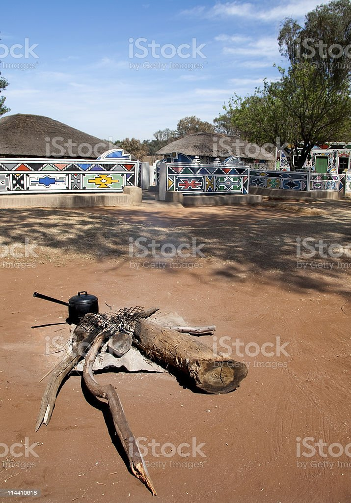 african house and cooking stock photo