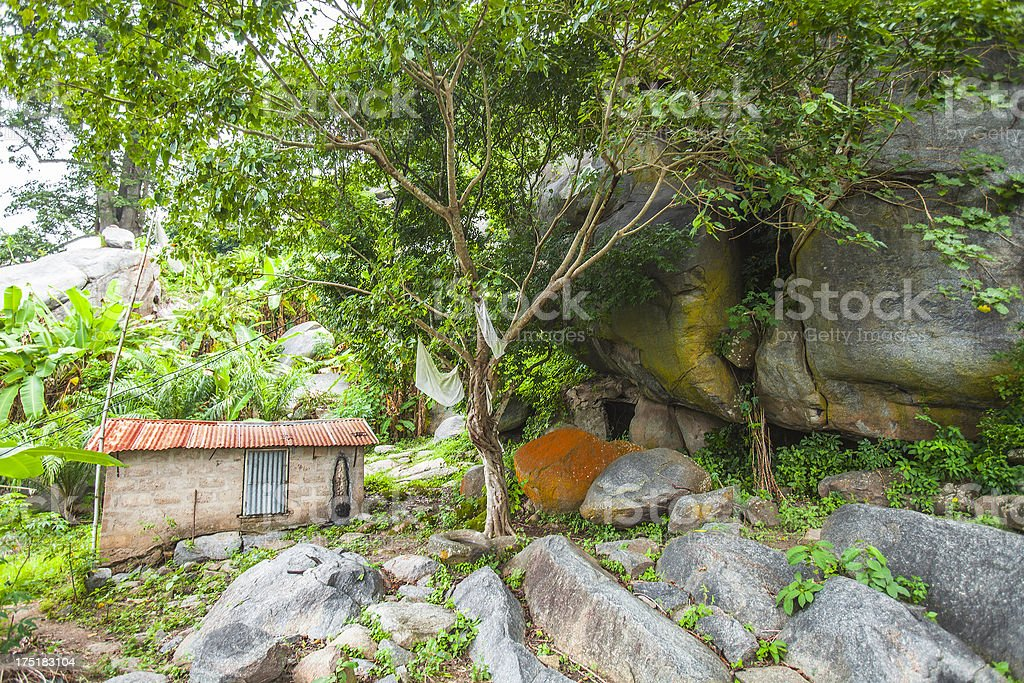 African house on rocky hills. stock photo