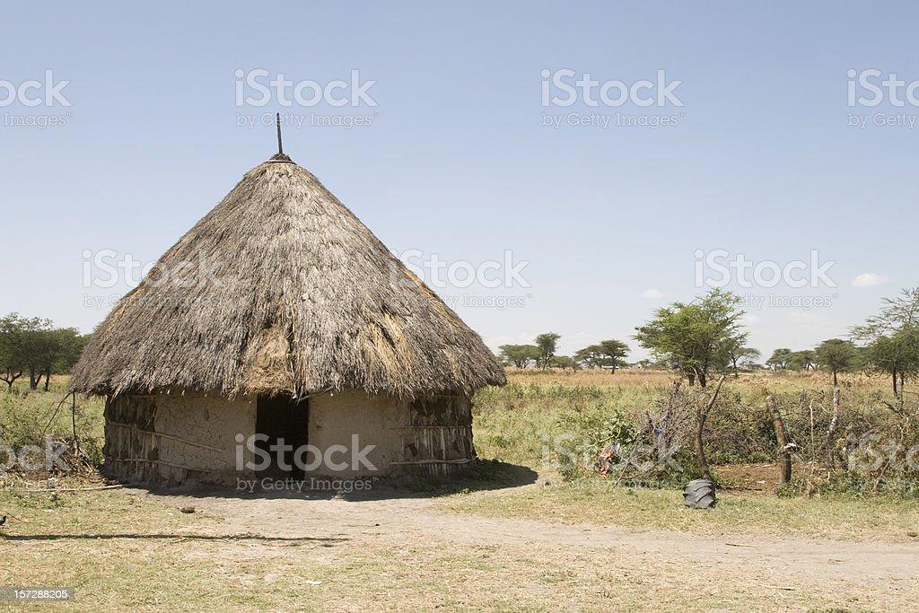 African hut in Ethiopia stock photo