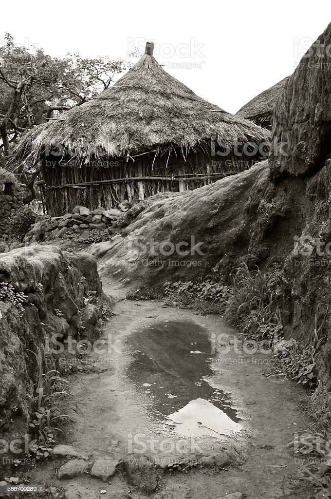 African hut in rainy season in Lalibela, Ethiopia stock photo