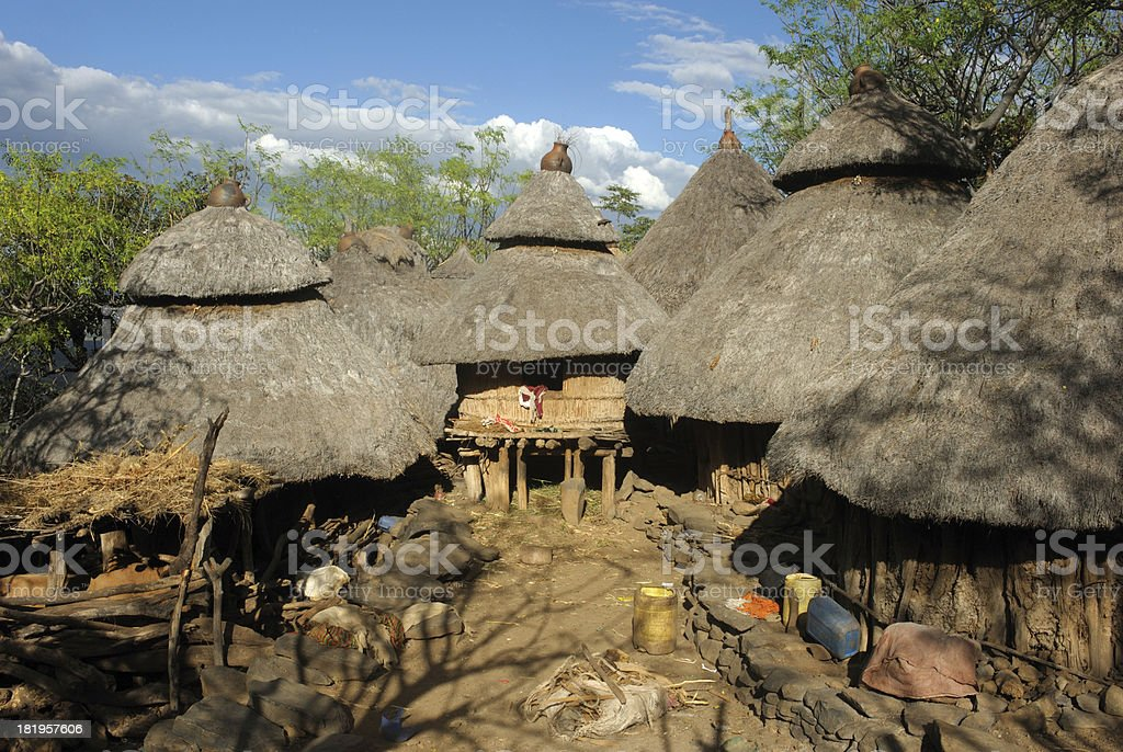 African huts in Konso village, Ethiopia stock photo