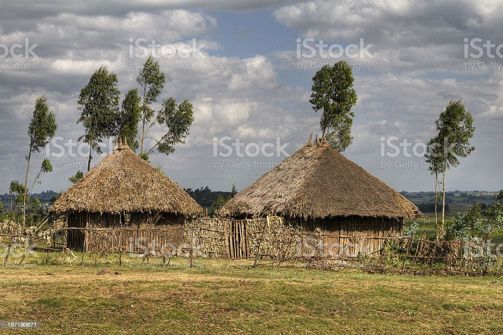 African huts stock photo