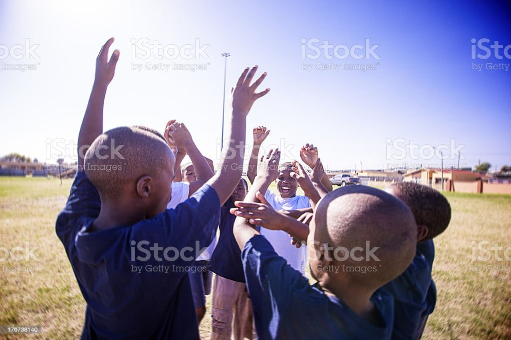 African Kids cheering up, Gugulethu, Cape Town royalty-free stock photo