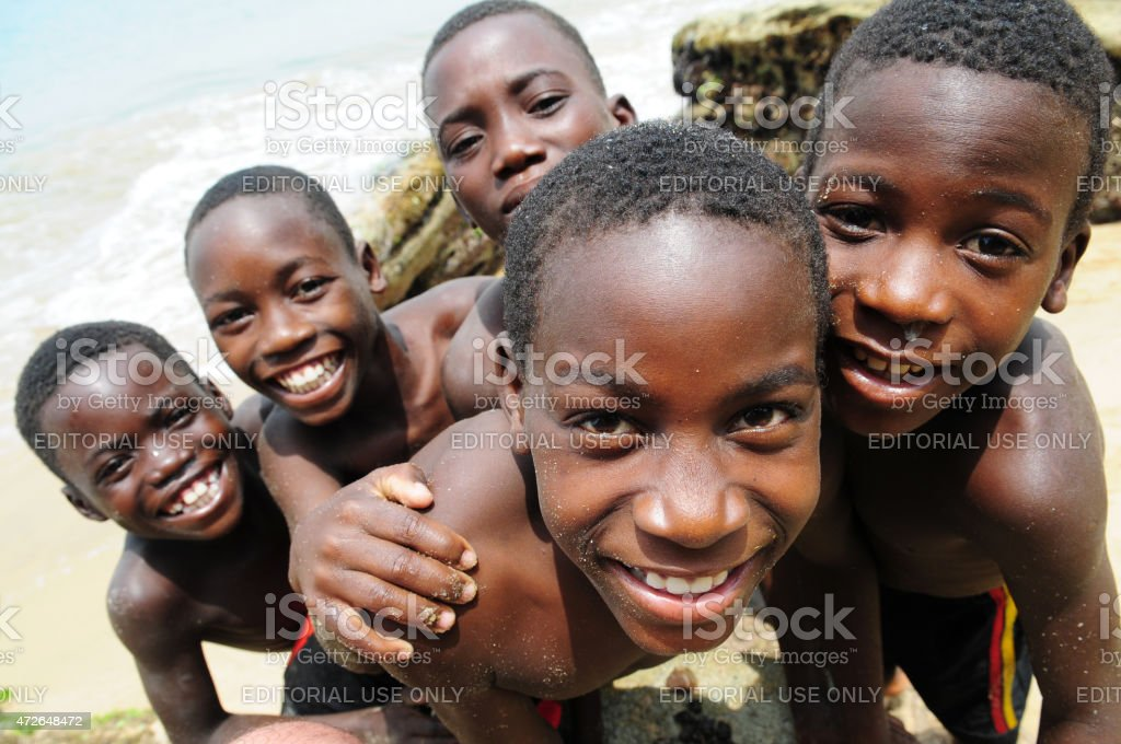 African kids smiling. stock photo