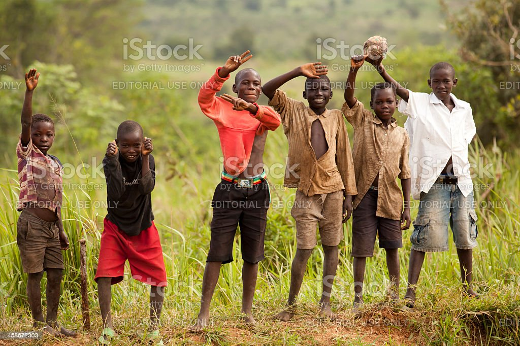 African kids with Obama belt stock photo