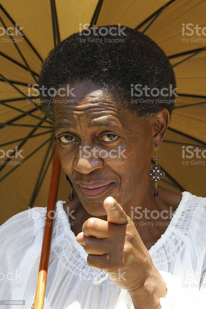 African Lady Pointing stock photo