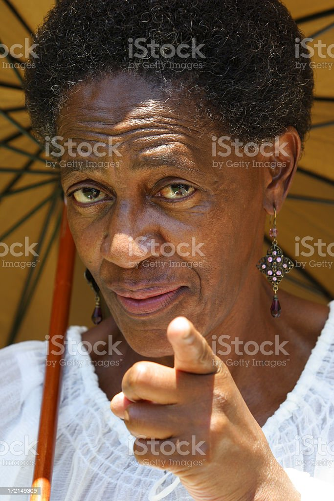 African Lady Pointing two stock photo
