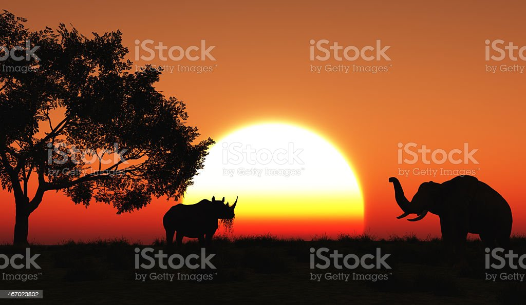 3D african landscape stock photo