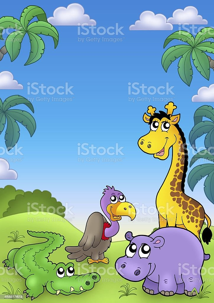 African landscape with cute animals stock photo