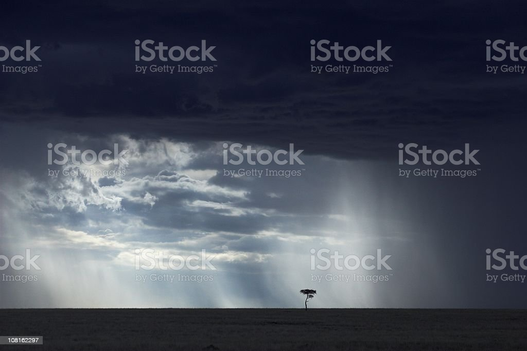 African landscape with Heavy Storm Clouds royalty-free stock photo