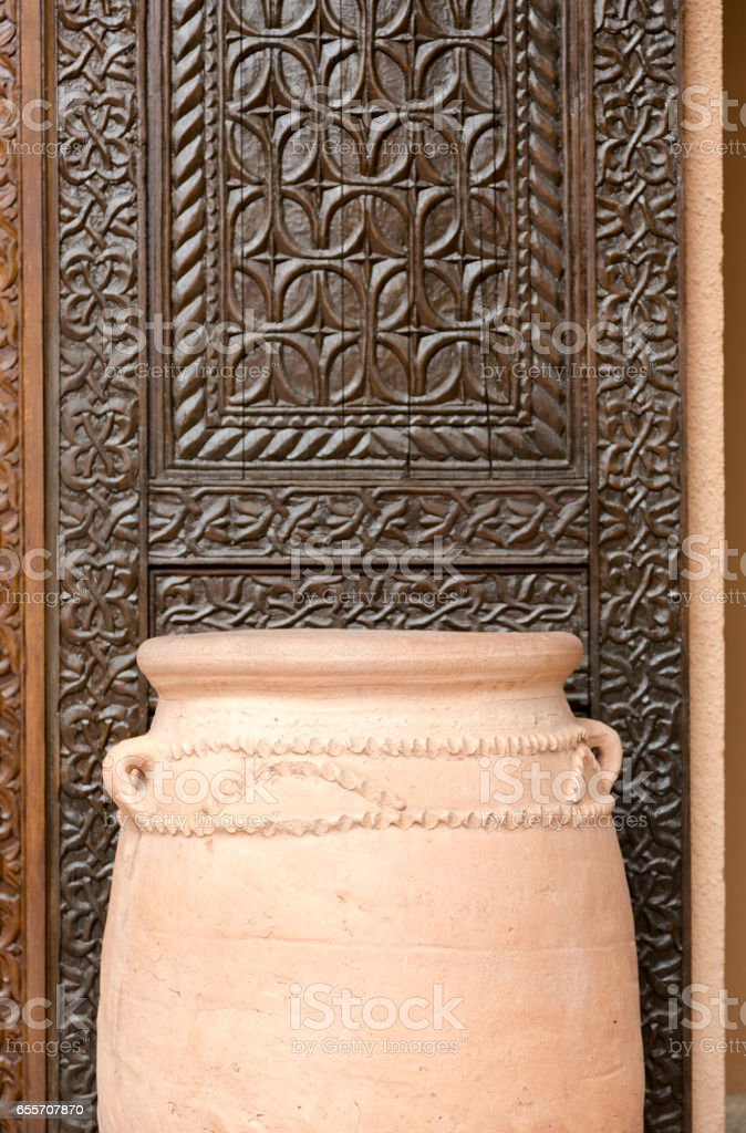 African large clay flower pot stock photo