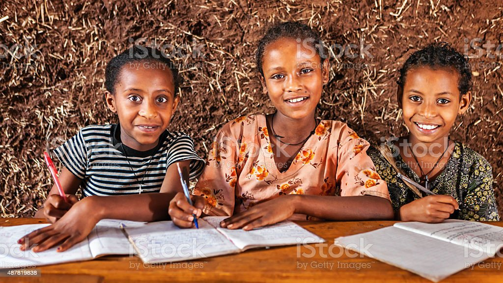African little girls are learning Amharic language stock photo