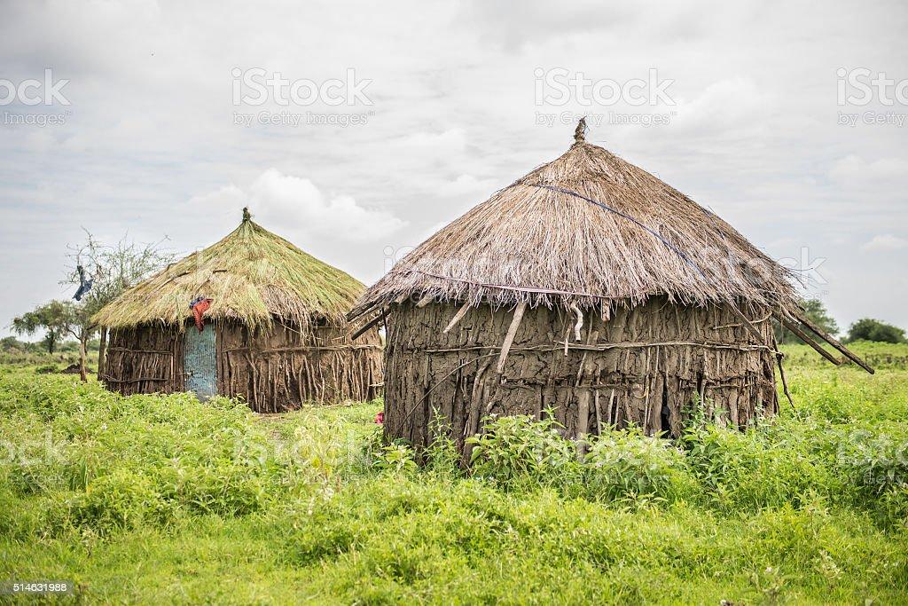 African Maasai Tribal Huts stock photo