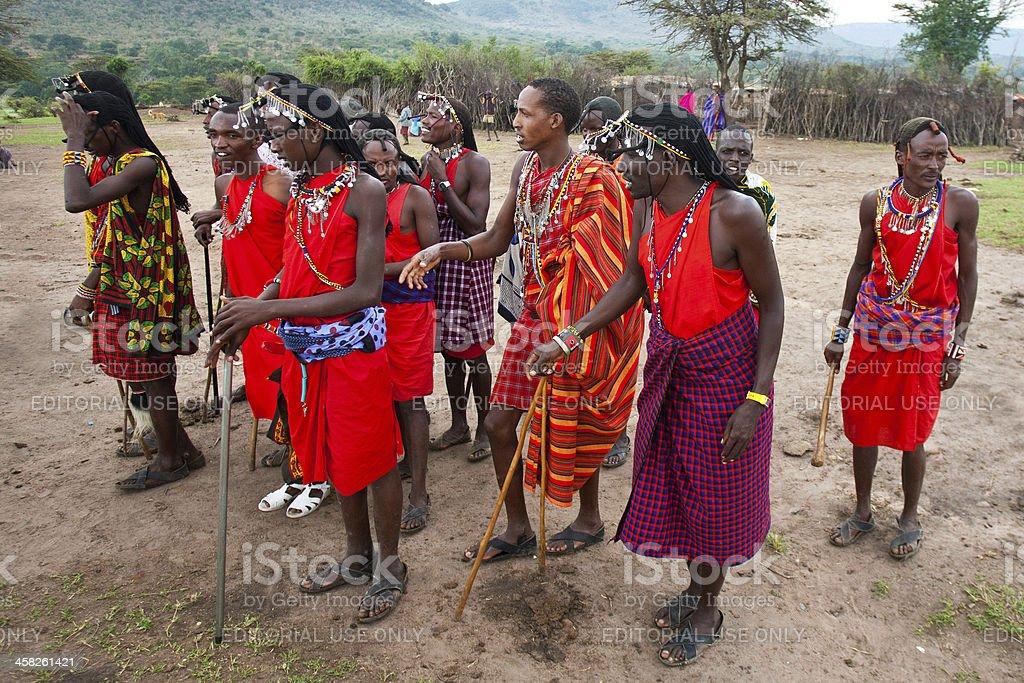 African Maasai warriors royalty-free stock photo