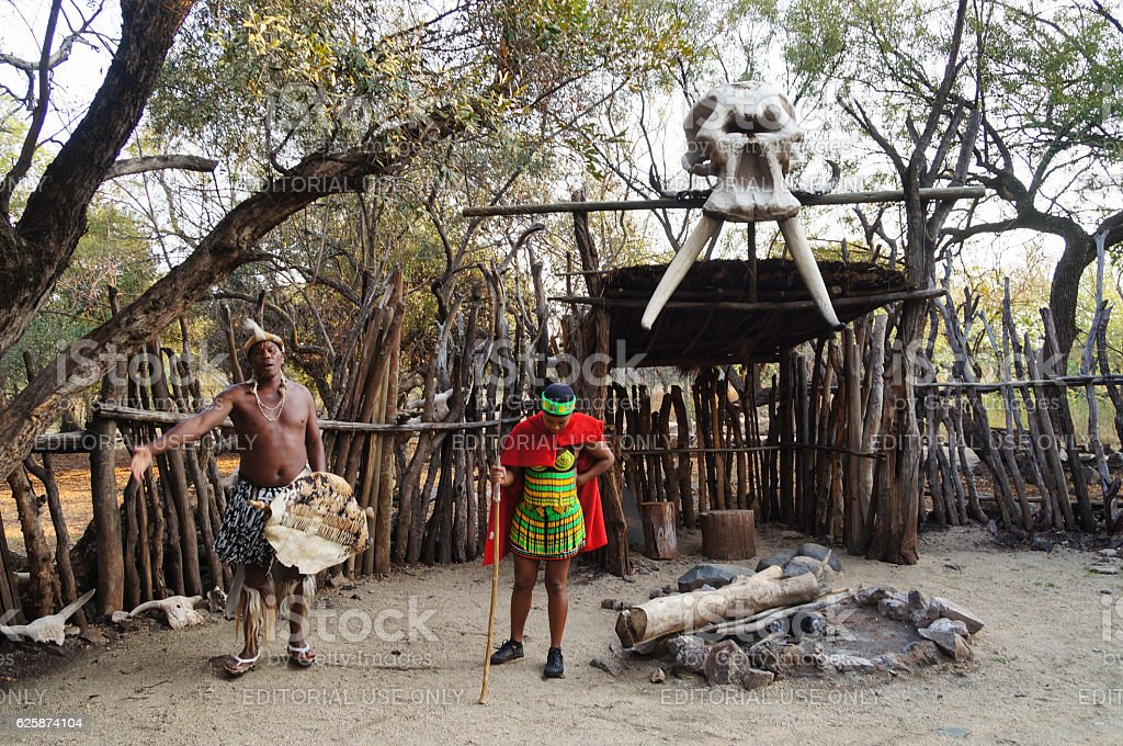 African man and woman explaining about culture,South Africa. stock photo
