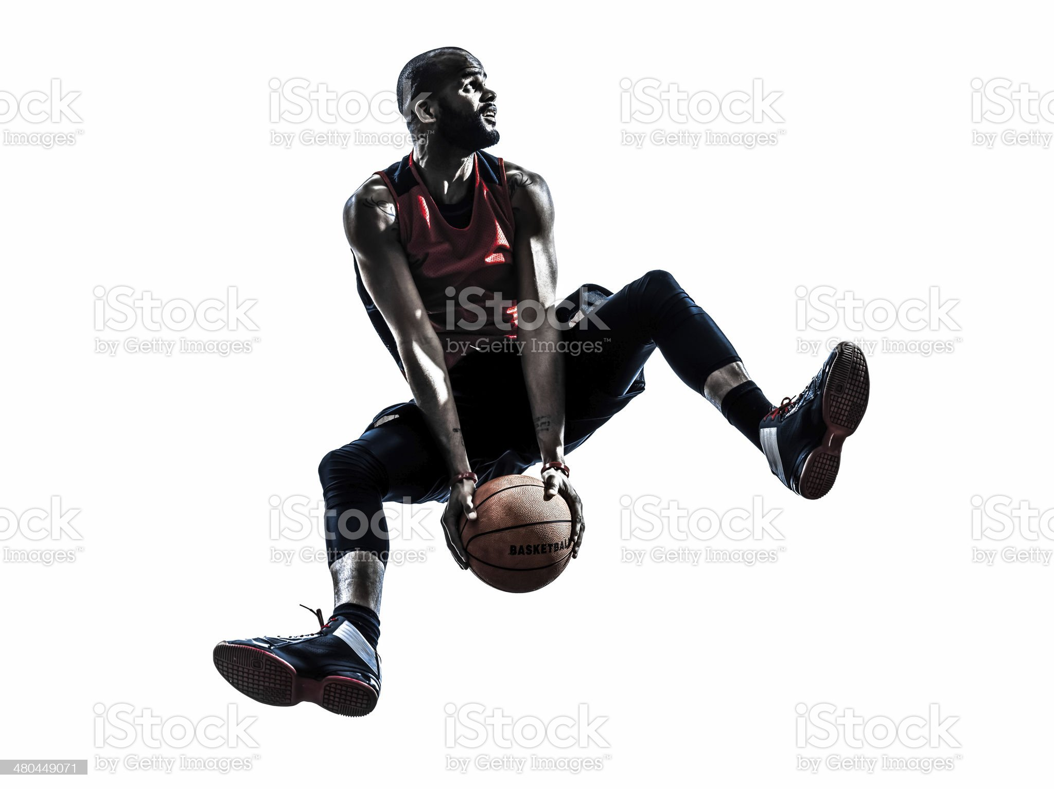 african man basketball player jumping silhouette royalty-free stock photo