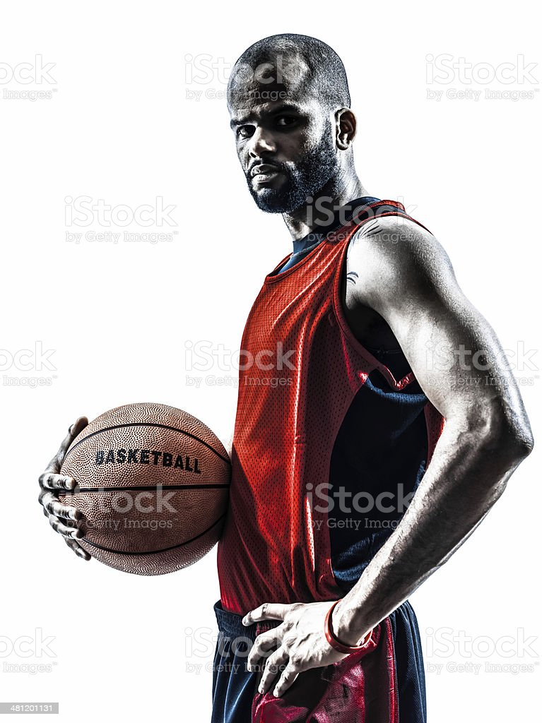 african man basketball player silhouette stock photo