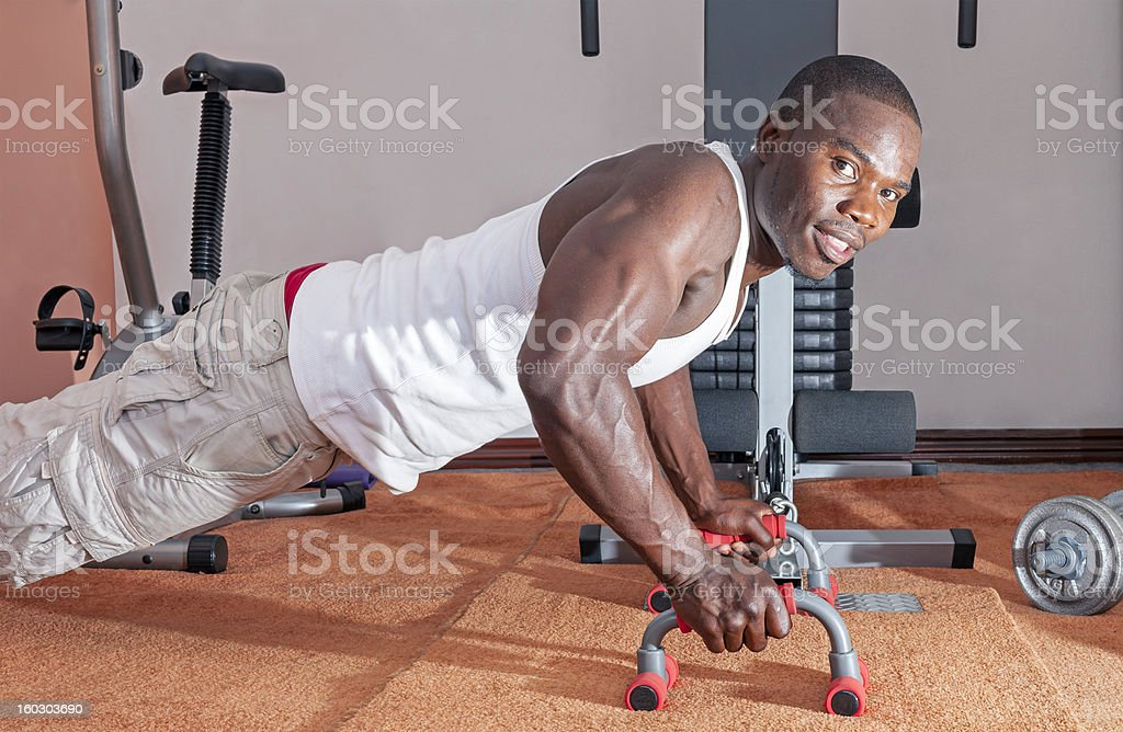 African man exercising press-ups royalty-free stock photo