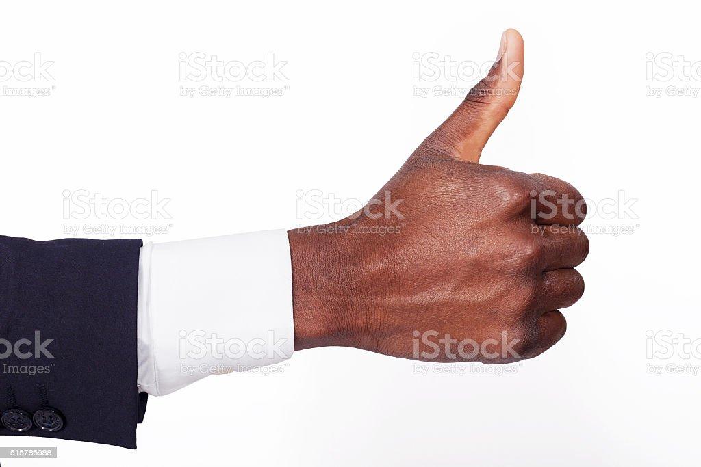 African man hand sign ok stock photo