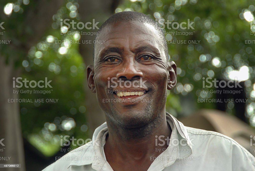 African man (guide) in the Okavango Delta, Botswana stock photo