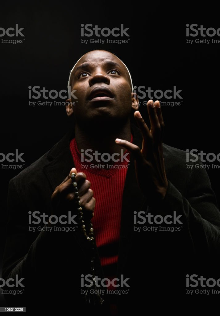 African Man Looking Up stock photo