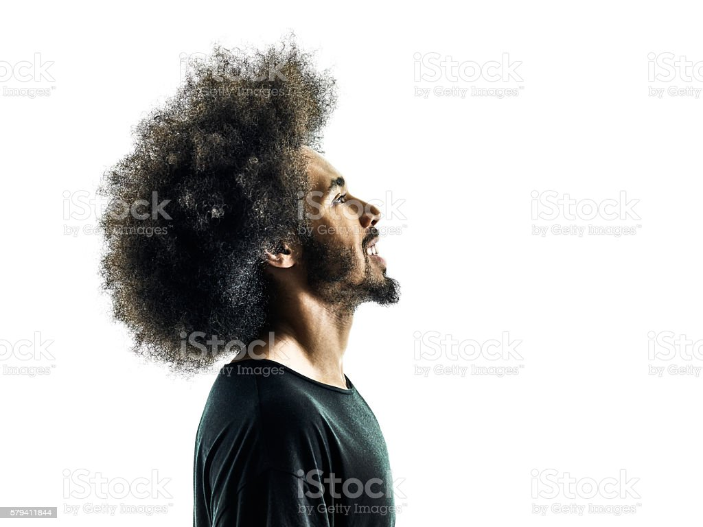 african man portrait silhouette isolated profile stock photo