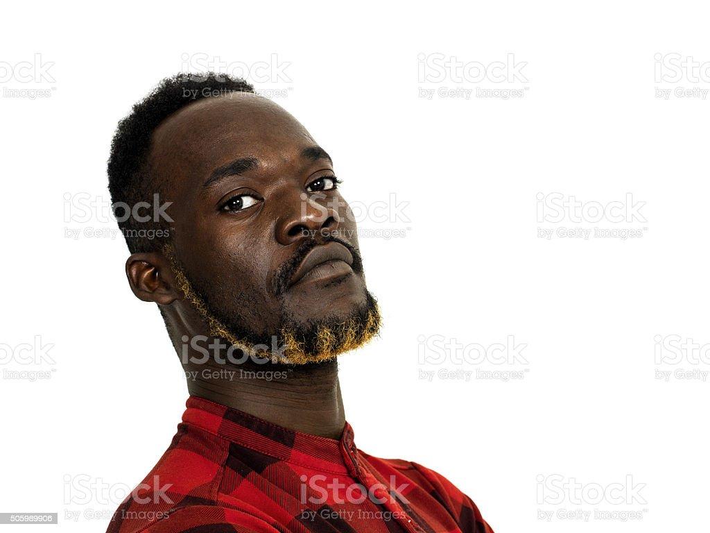 African man portrait wearing red checkered shirt closeup stock photo