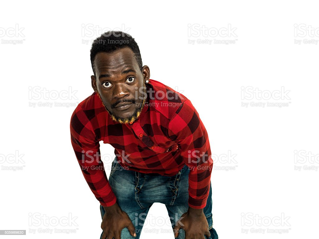 African man portrait wearing red checkered shirt stock photo