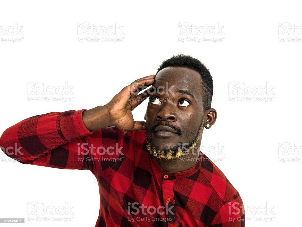 African man portrait wearing red chequed shirt stock photo