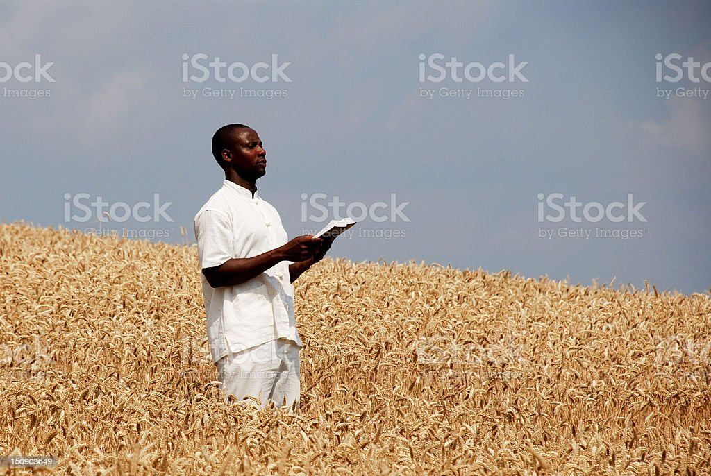 African man praying for good year in the field royalty-free stock photo