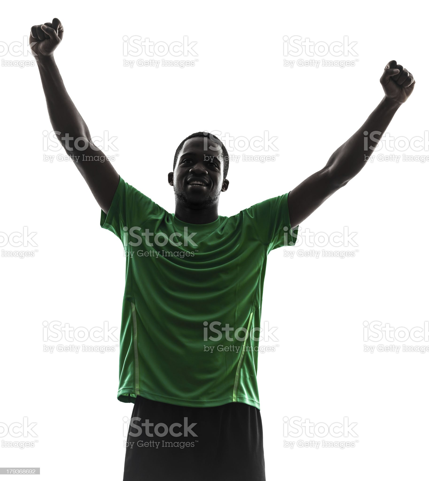 african man soccer player celebrating victory silhouette royalty-free stock photo