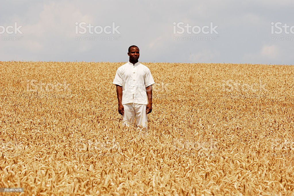 African man staying in the middle field royalty-free stock photo