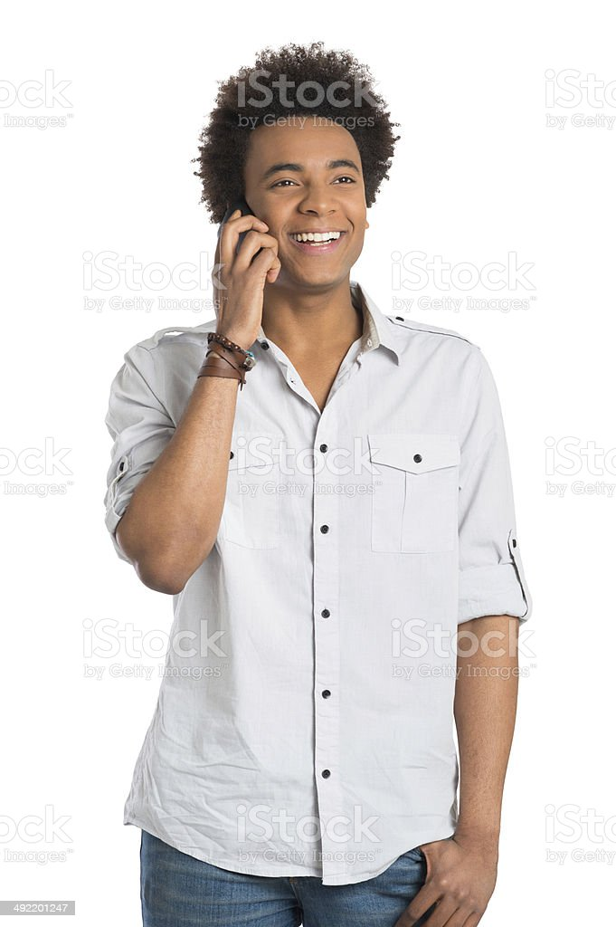 African Man Talking On Cellphone royalty-free stock photo