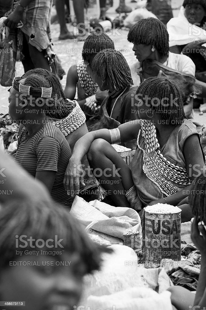 African market in Key Afar, Ethiopia royalty-free stock photo