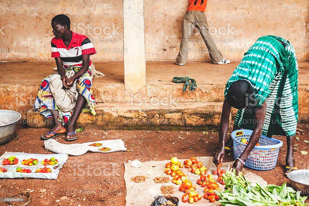 African market scene. Benin, West Africa. stock photo