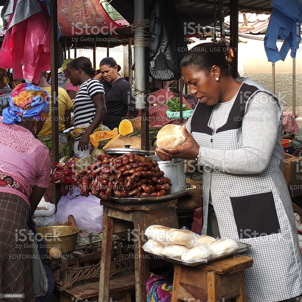 African market vendor. stock photo