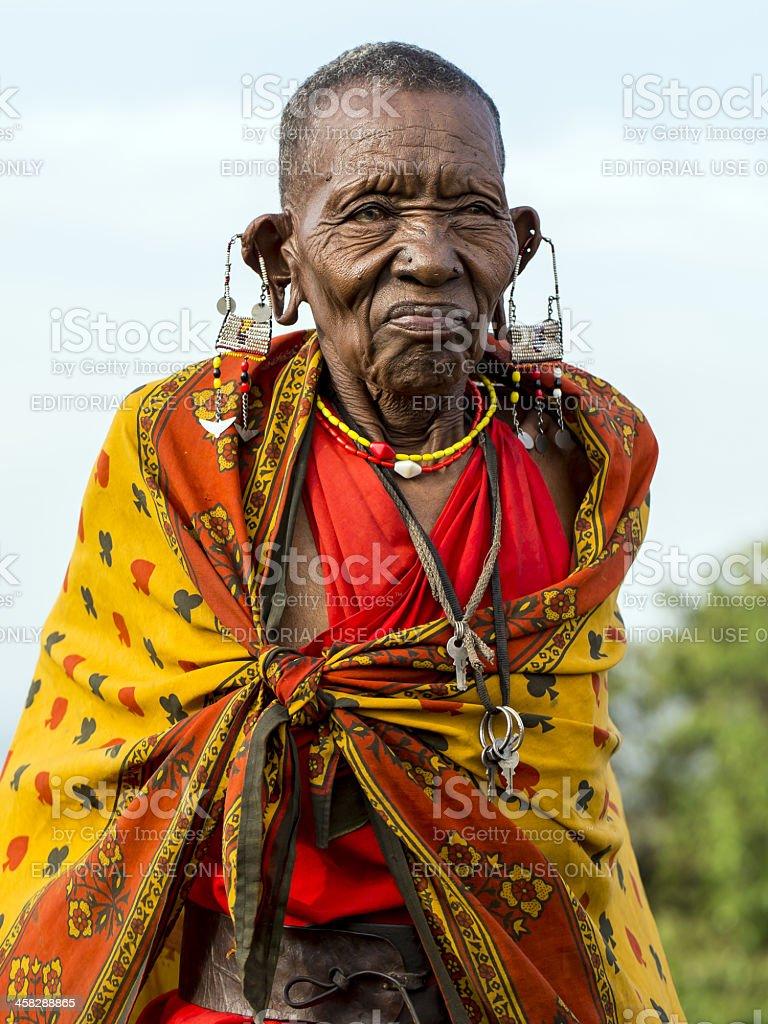 African masai old woman is posing - cataract stock photo