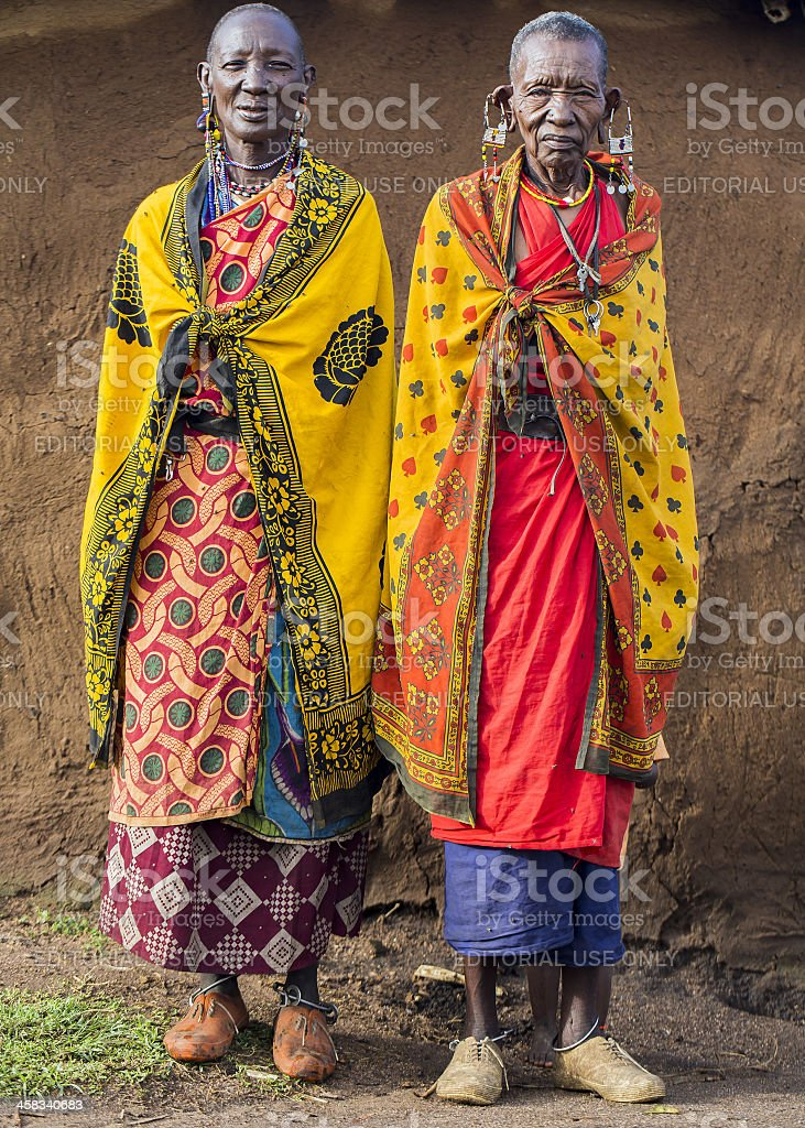 African masai old women is posing - cataract stock photo