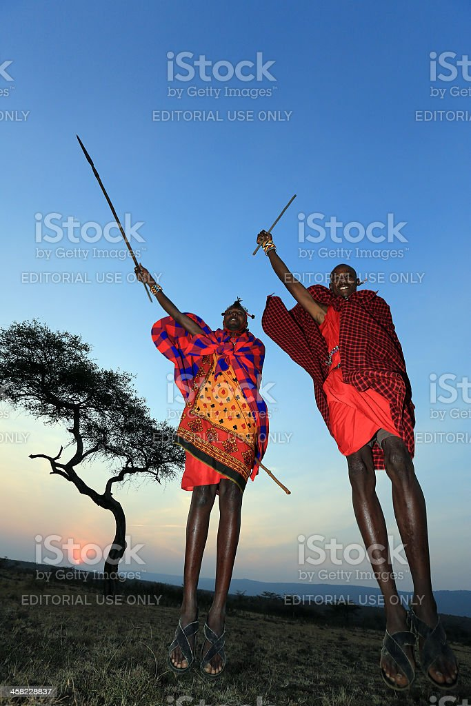 African masai people are dancing and jumping stock photo