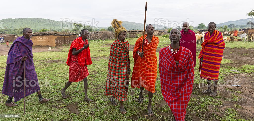 African masai people are dancing stock photo
