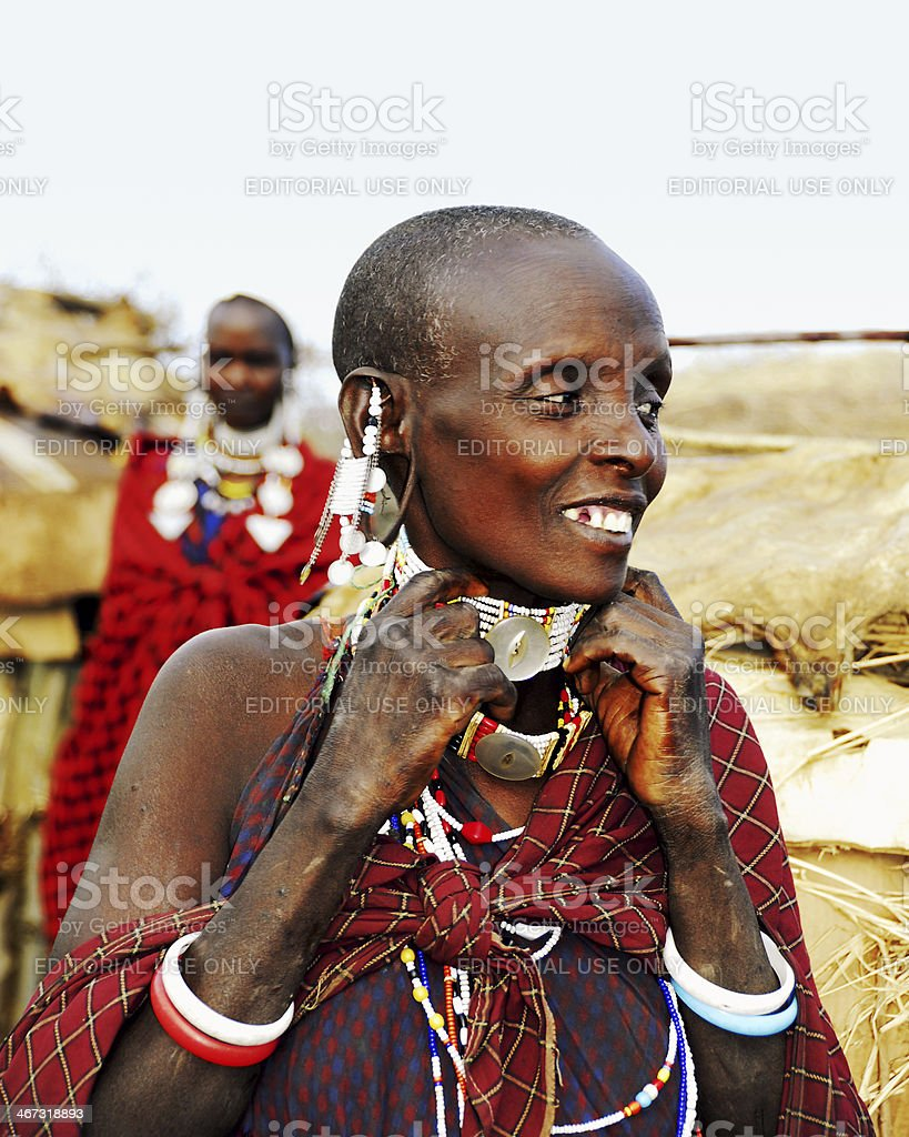 African Masai woman showing necklace royalty-free stock photo