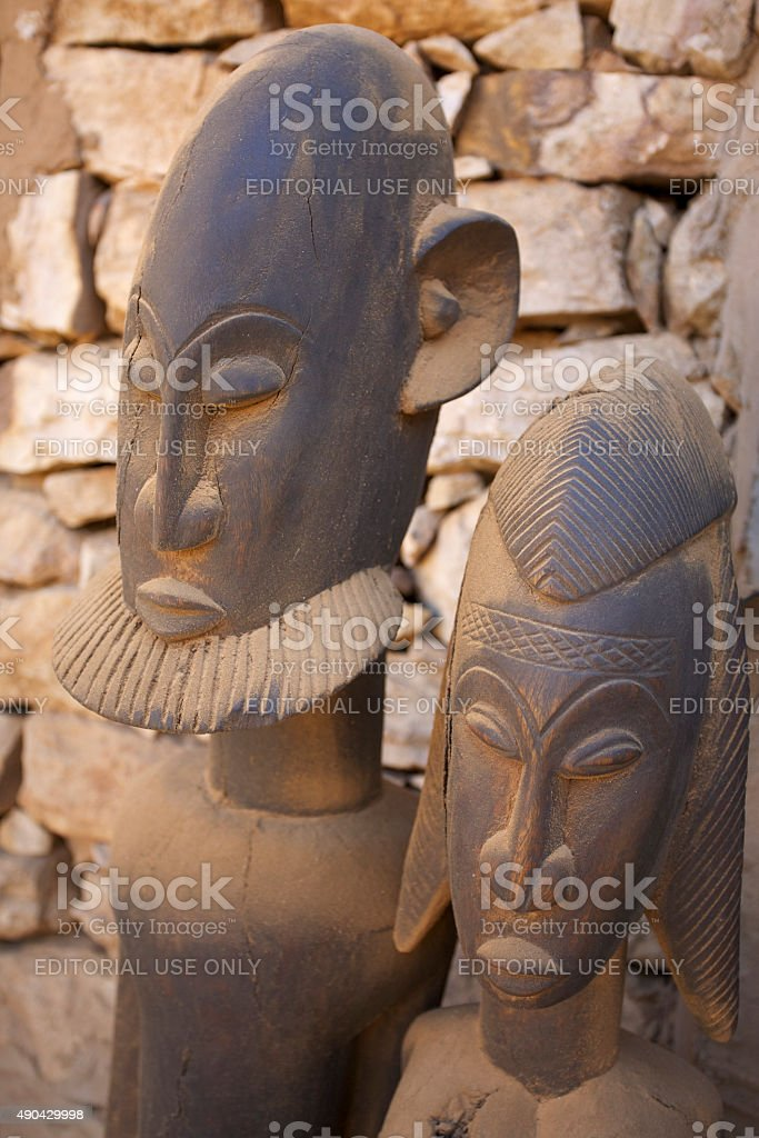 African Mask & artwork from Dogon Country, Mali stock photo